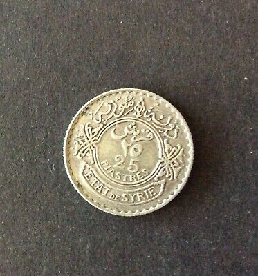 Syria Silver Coin 25 Piasters 1933