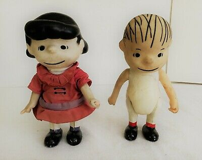 Vintage 1960's Peanuts Gang Lucy & Linus Pocket Dolls United Feature Syndicate