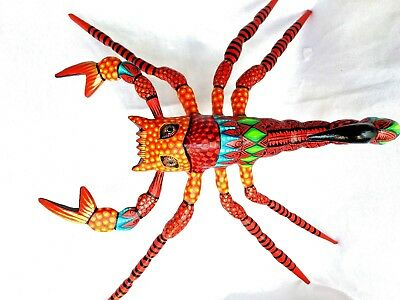 Large SCORPION Alebrije Hand Painted Wood Carving Folk Art Oaxaca Mexico
