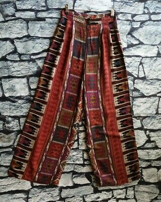 Vintage Ethnic tribal print high waisted loose leg trousers S
