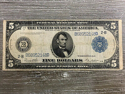 1914 $5 Five Dollar Blue Seal Large Size Federal Reserve Currency Note Bill