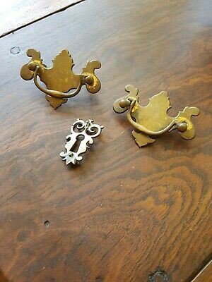 Pair of Early 18th Century Brass Swan Handles and Owl Key Escutcheon C&T