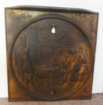 Antique Cast Iron Stove Plate Tavern Scene w/Monkey & Various People 1890's