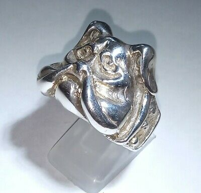 Heavy Large Sterling Silver 925 Bull Dog Ring Size W Bulldog