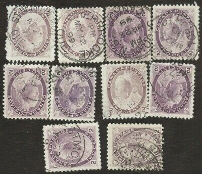 Stamps Canada # 76, 2¢, 1898, lot of 10 used stamps.