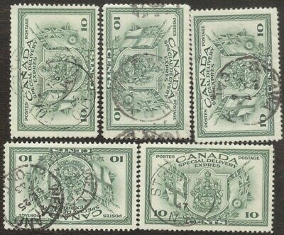 Canada Stamps # E10, 10¢, 1942, lot of 5, used stamps.