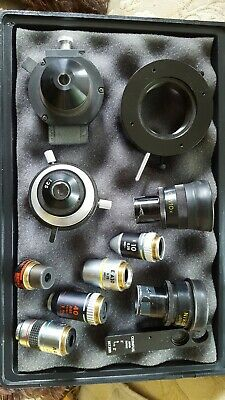 ASSORTMENT OF  USED MICROSCOPE PARTS Nikon, Zeiss, Olympus