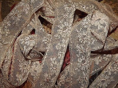 3.2 yds ANTIQUE LACE Embroidered Net Tulle Edging Pink Beige VINTAGE Alencon