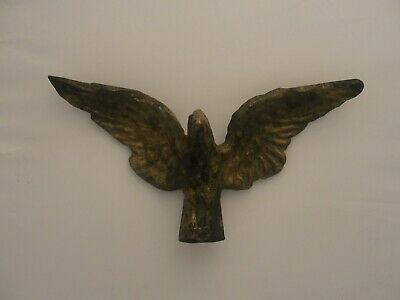 Antique / Vintage Brass Bald Eagle Spread Wings Finial Flag Pole Topper #2