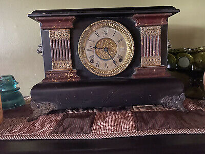 antique Gilbert mantle clock faux marble columns, lion heads. Very good cond