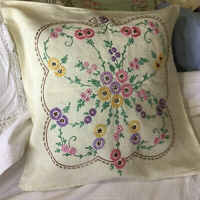 """vintage hand embroidered linen Cushion Cover Unused 19"""" 19.5"""""""
