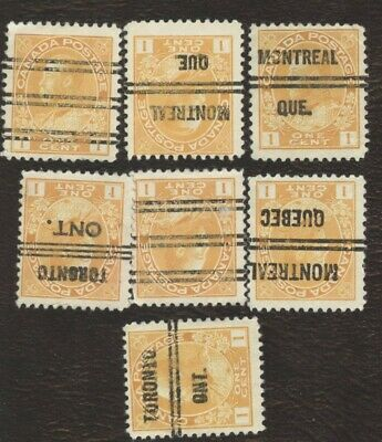 Canada Stamps # 105, 1¢, 1922, lot of 5 precancelled used Stamps.