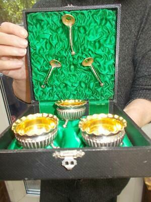 Cased Set 3 Silver Plated Salts & Spoons Gilded Interiors & Outer Spoons