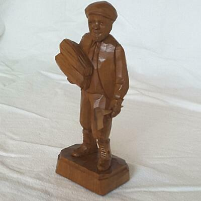 "🍁 Quebec Canada Folk Art Wood Carving, Signed CARON ~ 8"" Man w/ Firewood & Axe"