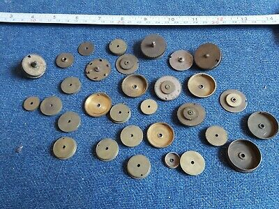 Job lot of vintage / antique brass clock parts, barrel drums