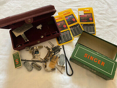 Vintage Sewing Machine Parts and Needles Boxes Singer Lot A