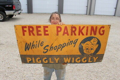 "Large Piggly Wiggly Free Parking While Shopping Grocery Store Pig 48"" Metal Sign"
