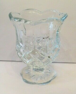 Clear Cut Crystal Floral Pedestal Votive Tea Light Candle Holder