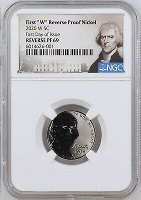 2020 First W Reverse Proof Nickel, Ngc Rev Pf69, First Day Of Issue, Jeff Label