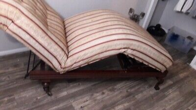 Antique 1800's Fainting Couch Wood Trim Chaise Sofa Invalid Literary Machine