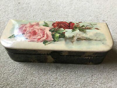 "Vintage Victorian Celluloid Dresser Vanity Glove Jewelry Box 12-1/4"" Long"