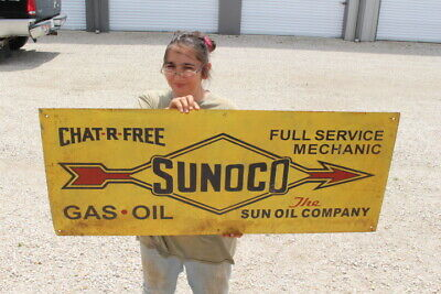 """Large Sunoco Gas Station Full Service Mechanic Sun Oil Co. 48"""" Metal Sign"""