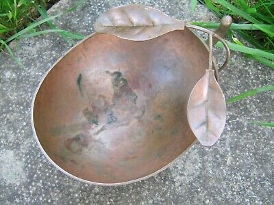 Antique Chinese Japanese Oriental Signed Bronze Brush Pot or Fruit Shaped Bowl