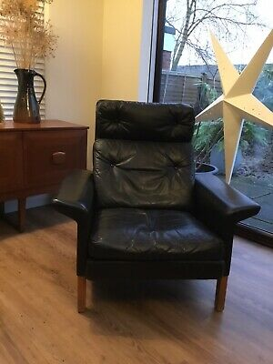 Mid Century  Hans Olsen Danish Black Leather Lounge Chair