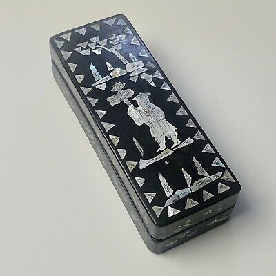 Old Vintage Chinese Black Lacquer Narrow Box w/ Mother of Pearl Inlay