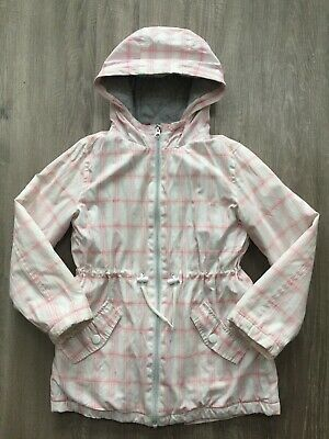 Next Girls White Pink Check Hooded Jacket Coat 8 Years Vgc