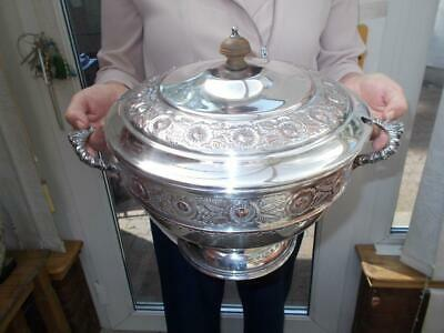 Large Silver Plate Lidded Dish& Ladle Casserole Stew Soup By Viners Of Sheffield