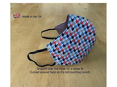 Face Mask Washable, Breathable 100% Cotton, 3 Layers New/Wrapped 🇬🇧 UK Made