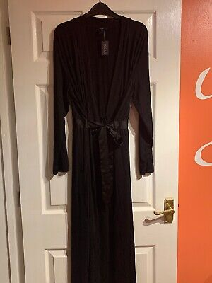 Ladys Figleaves Camelia Soft Touch Long Black Robe, Size Medium, New