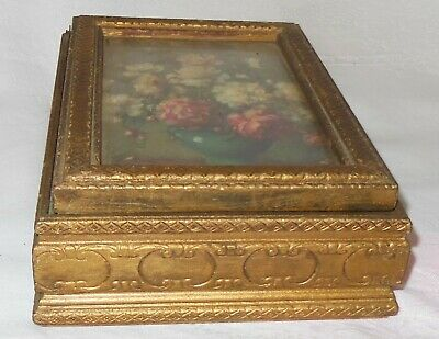 VINTAGE ANTIQUE GOLD GILT VICTORIAN PICTURE FRAME WOOD WHAT KNOT BOX w MIRROR