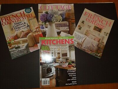 Decorating Magazines-Lot Of 4-Cottage,French,Country,Kitchens