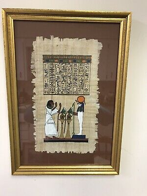 Original Hand Painted Egyptian Art On Papyrus With Hieroglyphics Gold Frame