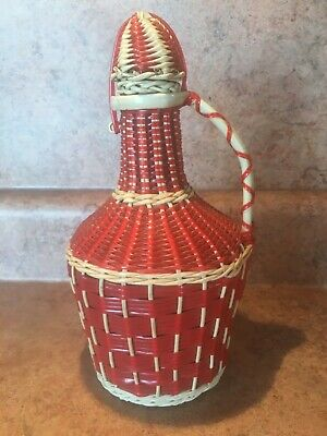 Vintage Multicolor Plastic Wicker Wrapped Wine Bottle Decanter Made in Spain