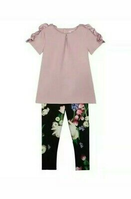 Ted baker girls lilac top and floral leggings set. 11-12 Years. Designer.