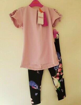 Ted baker girls lilac top and floral leggings set. 7-8 Years. Designer.