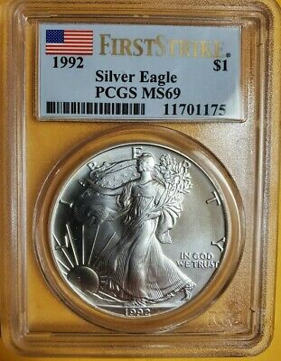 1992 Pcgs Ms69 First Strike American Silver Eagle $1 Very Rare Label Low Pop!