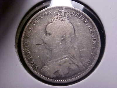 1892 Great Britain Sixpence