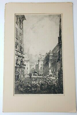 Rare Signed Louis Orr Etching - 1920 - the Edeon Theater, Paris - Edition 100