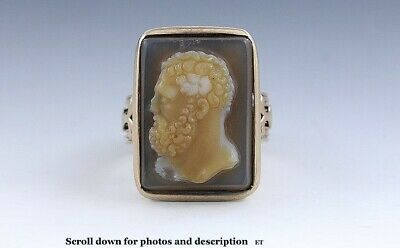 c1870s-1880s Victorian Hardstone Carved Cameo of Greco-Roman Man 14K Rose Gold