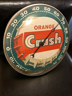 Orange Crush Soda Pop Round Advertising Thermometer Sign Gas Station Oil