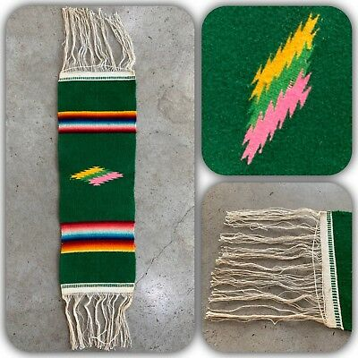 MEXICAN SALTILLO Table Runner Wall Hanging Blanket Serape Saddle VTG MCM