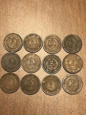 1864-1867 (12)Civil War Era Two Cent Piece Mixed Grade * United States Coins