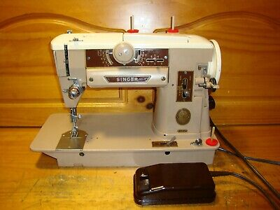 Vintage  Singer Sewing Machine Model  401A, Zig Zag, Gear Driven, Serviced