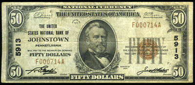$50 1929 The United States National Bank of Johnstown PA Forbidden Title **LOOK*