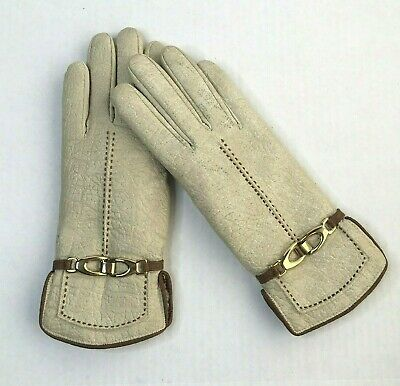 Vintage Aris Womens Gloves Vinyl Shearling Lined Gold Clasp S/M Fit Faux Leather