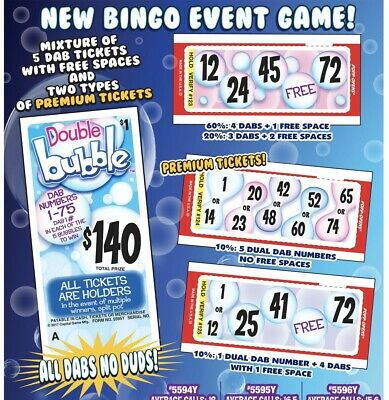 """""""Double Bubble"""" Pull Tab Ticket, Bingo Play Along Game ($140)"""